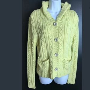 SANCTUARY Hooded Cardigan Sweater Yellow Knit
